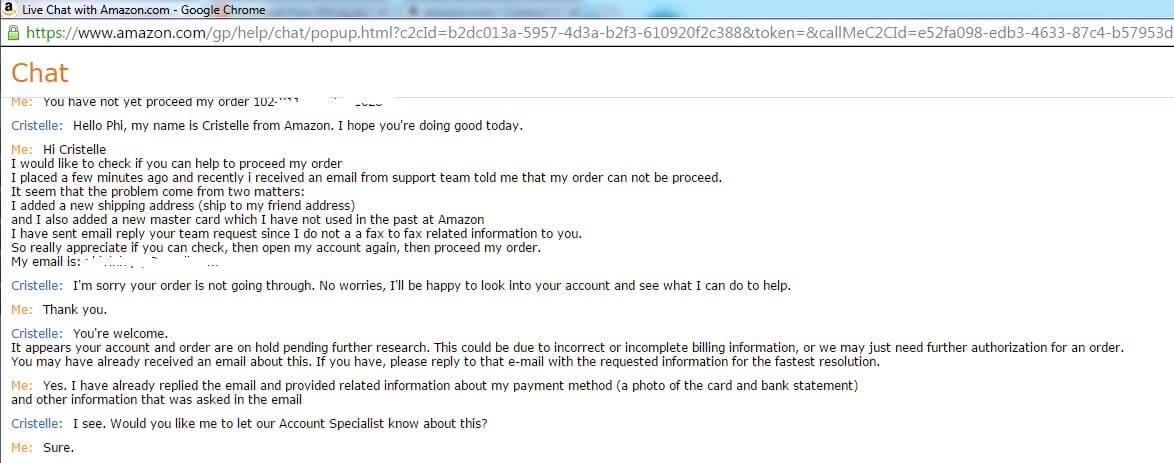 Live chat của Amazon là một trong số ít những dịch vụ hỗ trợ khách hàng tốt nhất hành tinh!