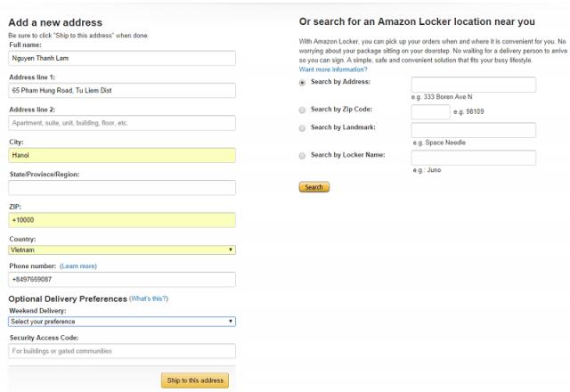 Bước điền địa chỉ khi mua hàng trên Amazon