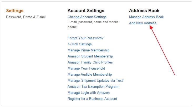 Điền thông tin địa chỉ nhận hàng sau khi tạo tài khoản