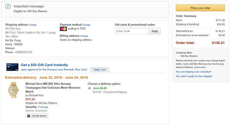 Phí Ship đồng hồ về VN từ Amazon chỉ 25 USD