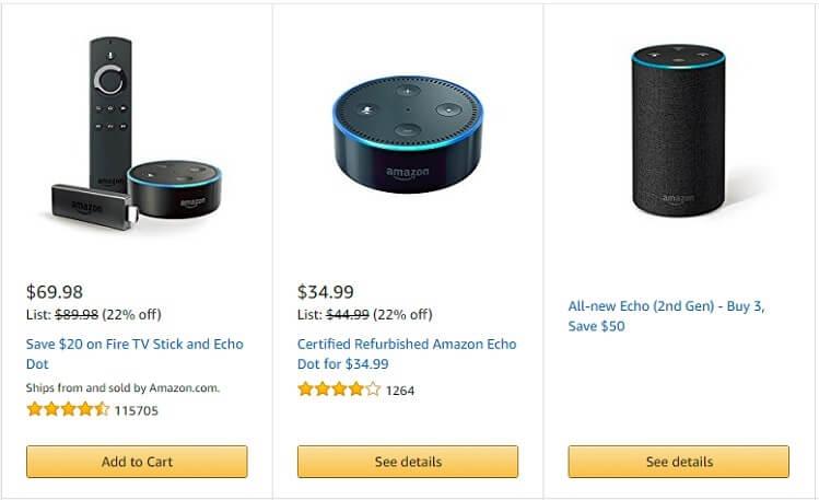 Danh mục Amazon Daily Deals có nhiều SP giảm giá