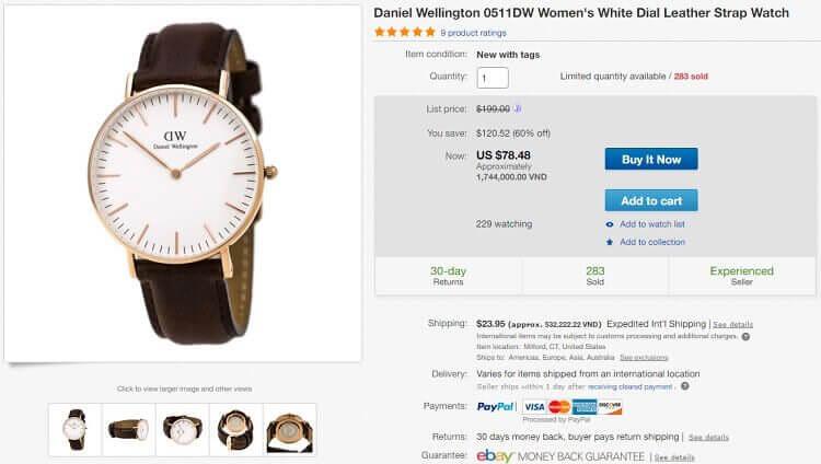 Đồng hồ là mặt hàng mua trên Ebay rẻ hơn rất nhiều mua ở Việt Nam