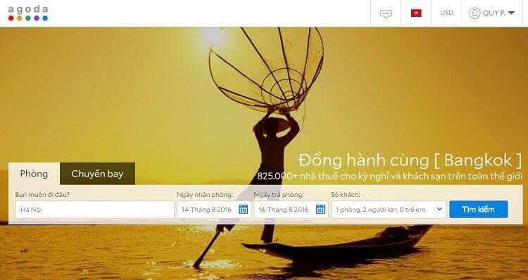 Website đặt phòng khách sạn Agoda.com