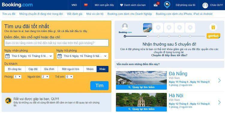 Website đặt phòng khách sạn Online Booking.com