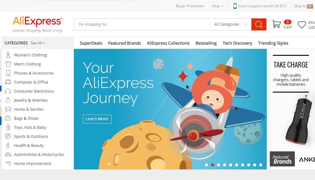 Mua hàng trên AliExpress có ưu điểm là chi phí vận chuyển rất rẻ