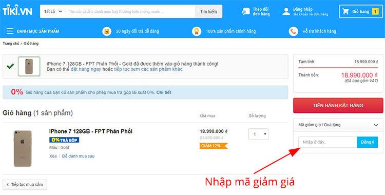 Mục điền mã giảm giá Tiki khi mua hàng