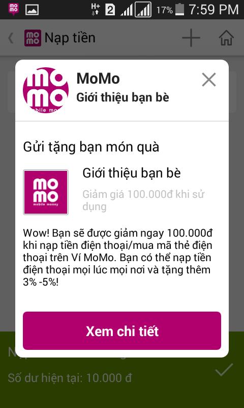 Nhận 100.000đ khuyến mãi từ Momo