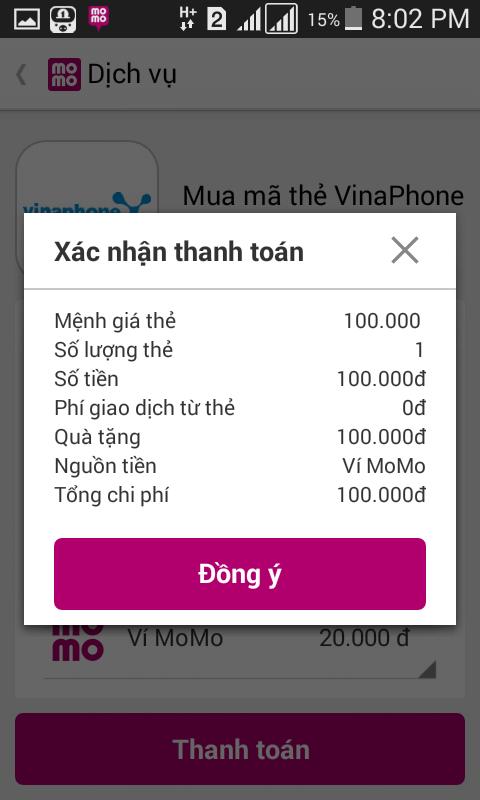 Mua mã thẻ điện thoại Momo