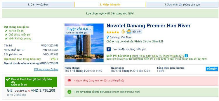Các bước đặt khách sạn trên Booking.com