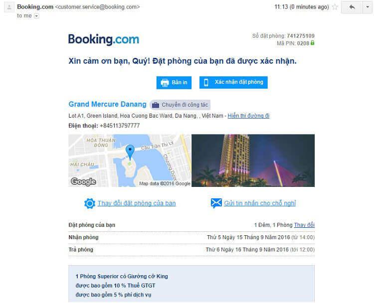 Email xác nhận đặt phòng từ Booking.com