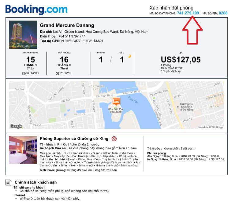 Xác nhận đặt phòng từ Booking.com