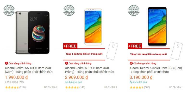 Điện thoại Xiaomi chính hãng ở Lazada