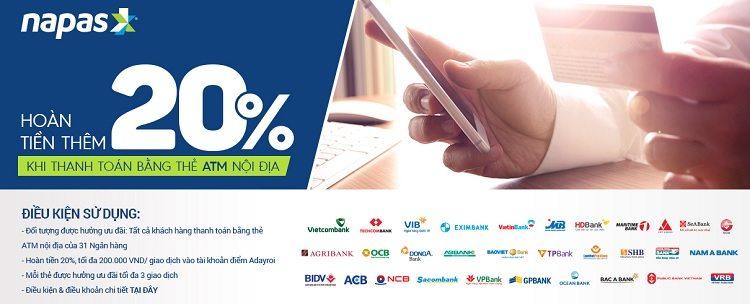 Hoàn tiền 20% cho chủ thẻ ATM ở Adayroi