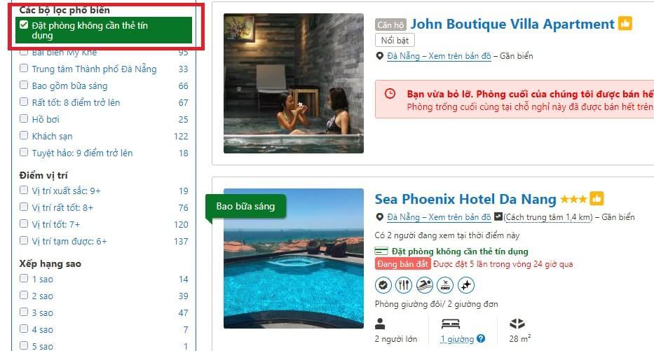 Tìm khách sạn có thể đặt không cần thẻ tín dụng trên Booking.com