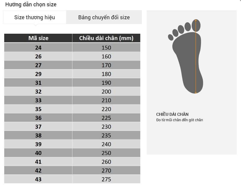Chọn Size giày Nam