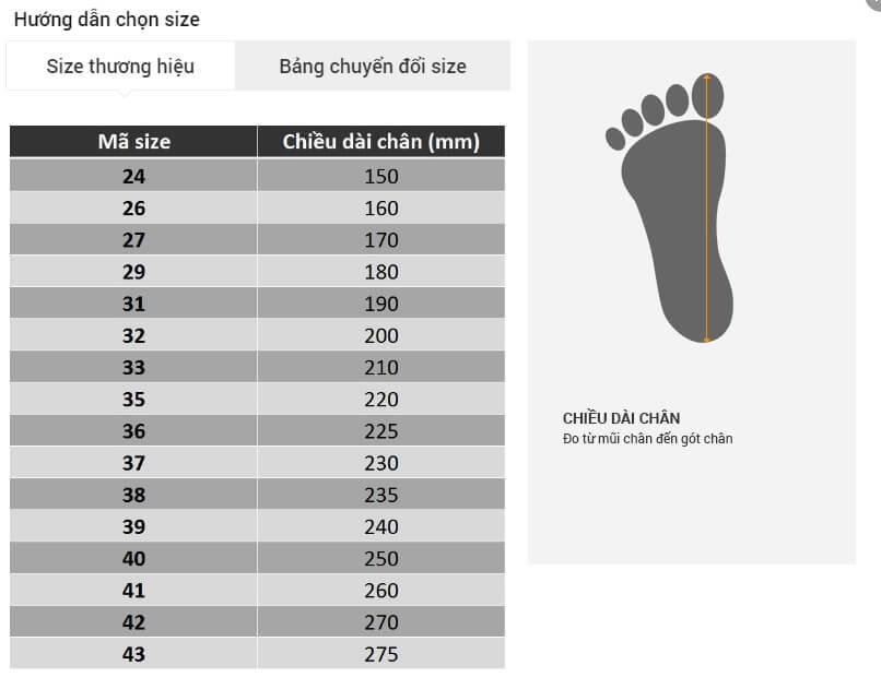 Chọn Size giày Nữ