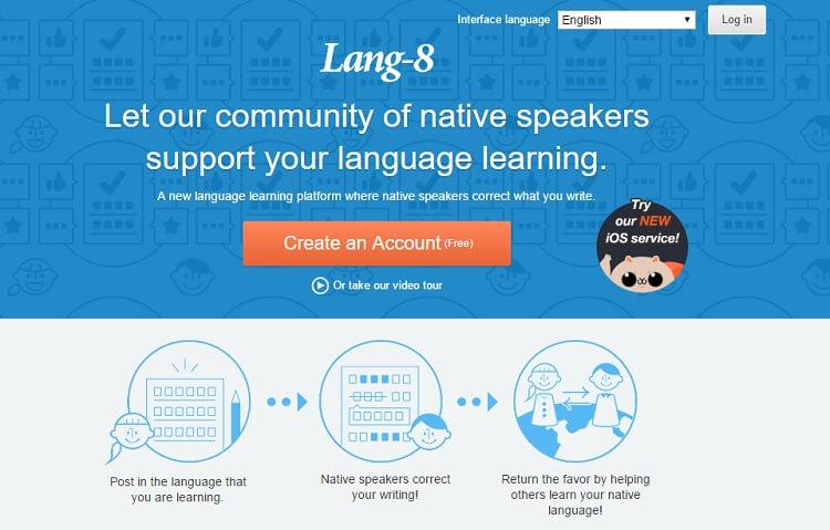 Lang 8 là Cộng đồng hỗ trợ học đa ngôn ngữ