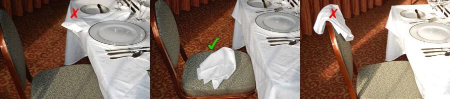 Cách đặt khăn khi rời khỏi bàn