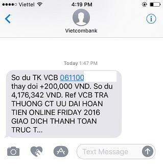 Hoàn tiền từ Vietcombank