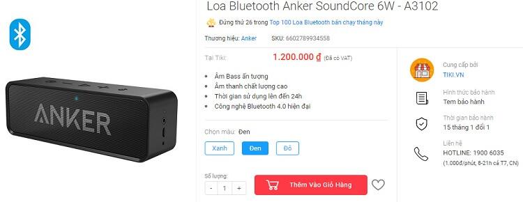 Loa Anker Soundcore mua ở Tiki là 1.2 triệu