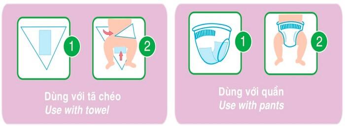 Cách dùng miếng lót sơ sinh với tã quần