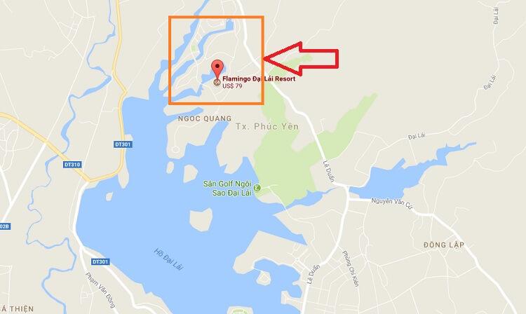 Khu vực xây dựng của Flamingo Đại Lải Resort có diện tích khoảng 2km2