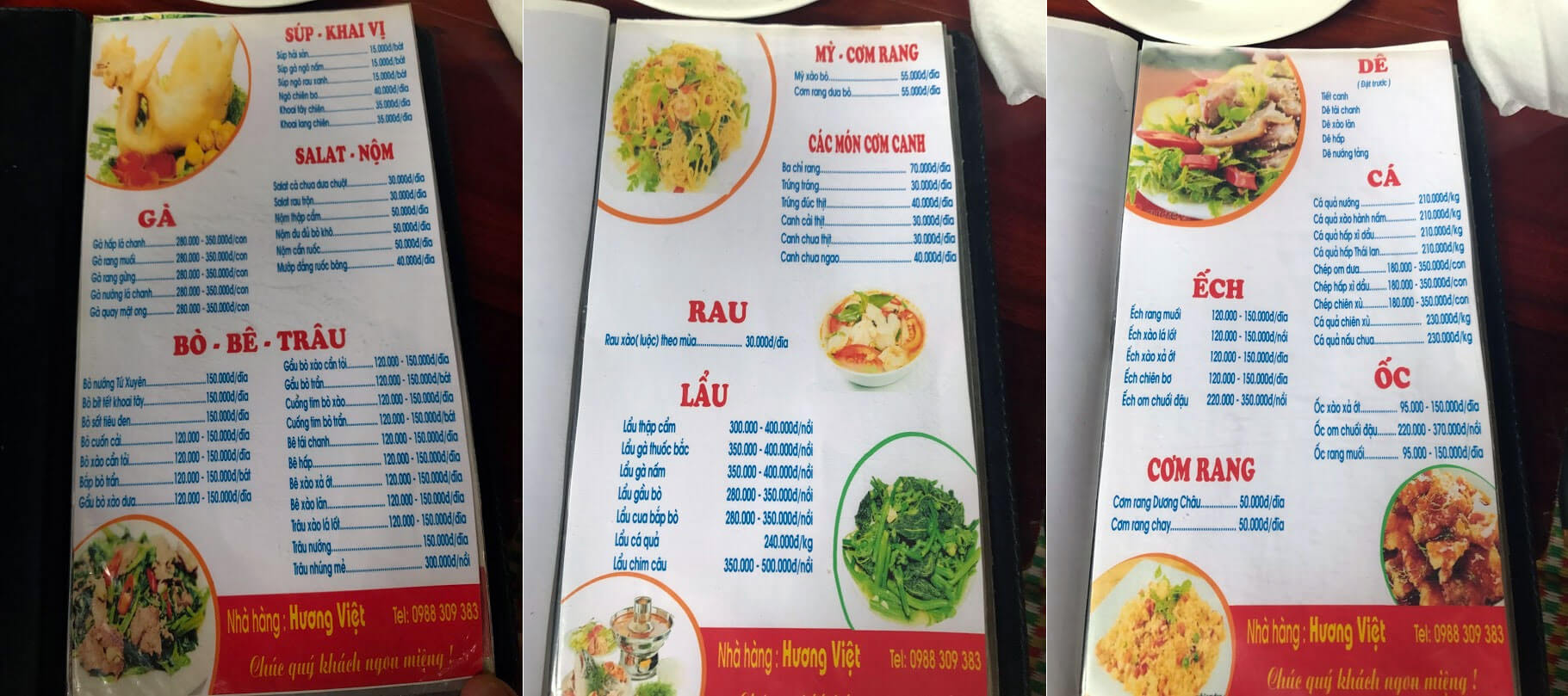 Đây là Menu nhà hàng Hương Việt Nhé (Cuối năm 2017)