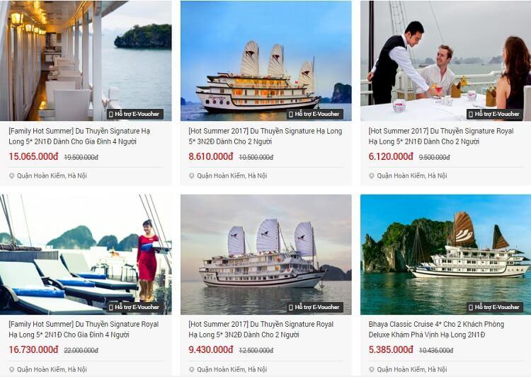 Nhiều Voucher du lịch Hạ Long ngủ du thuyền giảm giá