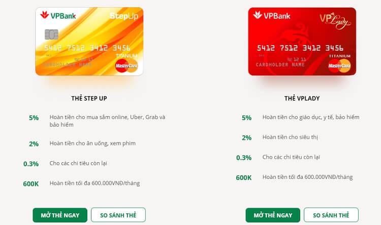Hai dòng thẻ tín dụng hoàn tiền có phí thường niên rất rẻ của VPBank