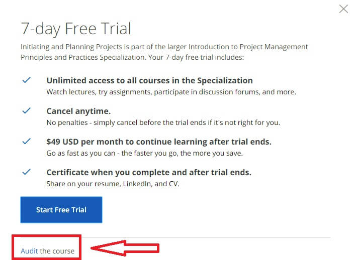 Chọn Audit The Course để học miễn phí nhé