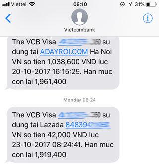 Thông tin thanh toán đơn hàng Lazada