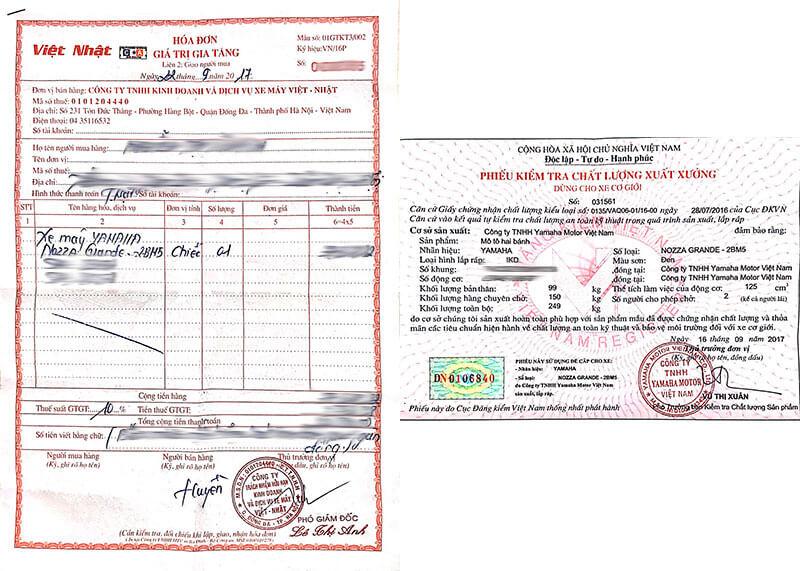 Hóa đơn và Phiếu kiểm định chất lượng dùng để đăng ký xe