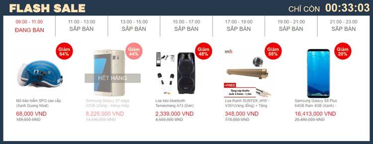 Các sản phẩm giảm giá Flash Sale chỉ bán trong 2h