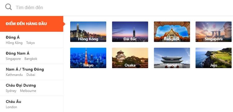 Klook cung cấp dịch vụ ở rất nhiều quốc gia