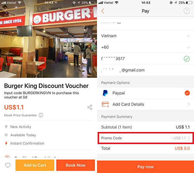 Voucher Klook giảm giá khi mua Burger King ở Hồ Chí Minh