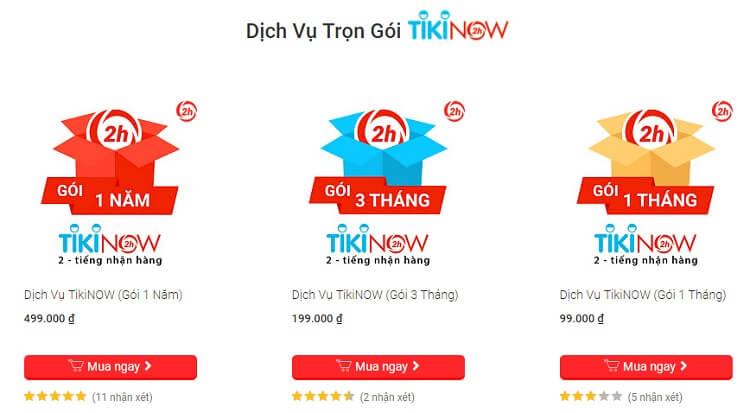 Các gói dịch vụ TikiNow