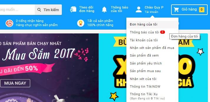 Truy cập mục Đơn hàng của tôi ở Tiki.vn