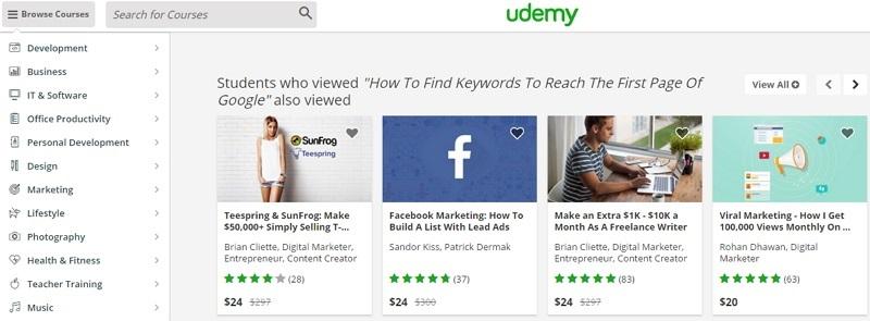 Các khóa học trực tuyến tại Udemy đề cao tính thực hành