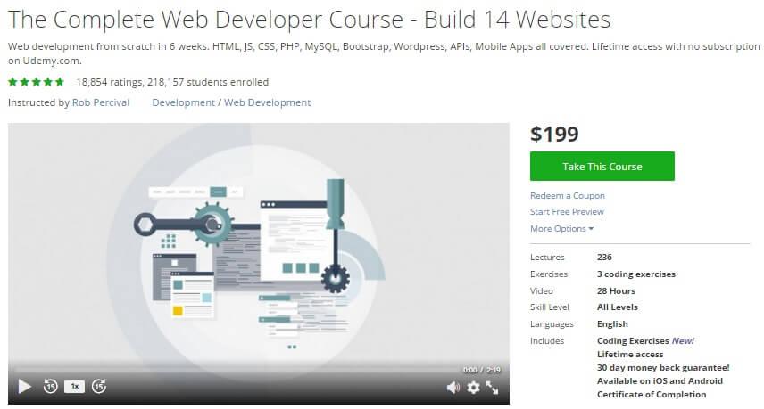 Khóa học lập trình Web có hơn 200.000 học viên