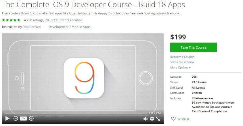 Khóa học lập trình iOS online chất lượng nhất tại Udemy