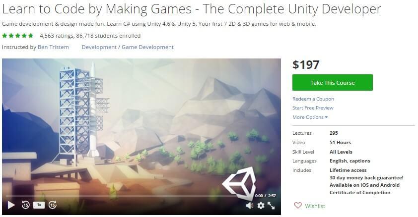 Khóa học làm Game tại Udemy