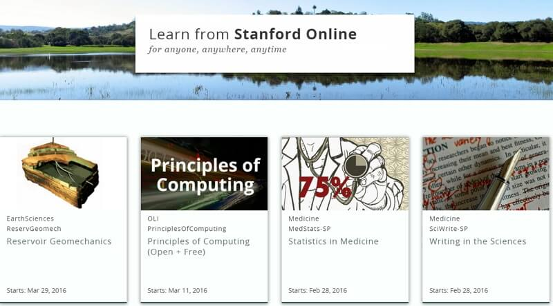 Đại học Standford cũng có nhiều khóa học miễn phí Online