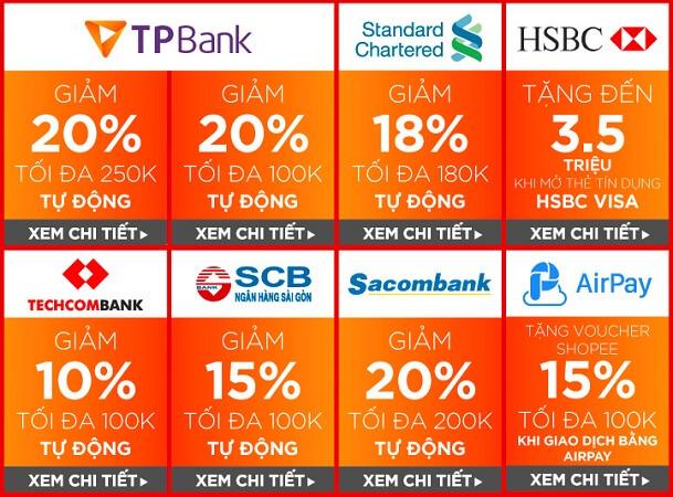 Mã giảm giá Shopee cho chủ thẻ Ngân hàng