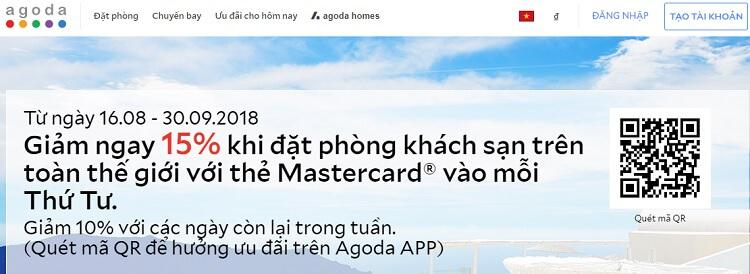 Mã QRCode giảm giá 15% cho chủ thẻ MasterCard