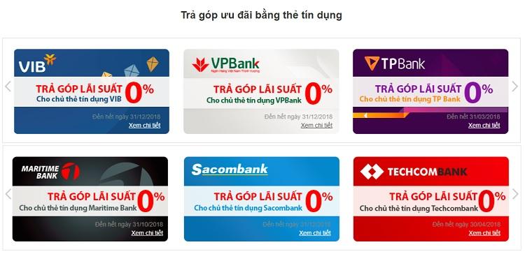 Các ngân hàng hỗ trợ mua điện thoại trả góp 0% lãi suất tại FPT Shop