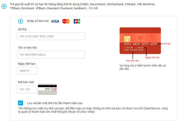 Hinh thức thanh toán trả góp khi mua hàng ở Tiki