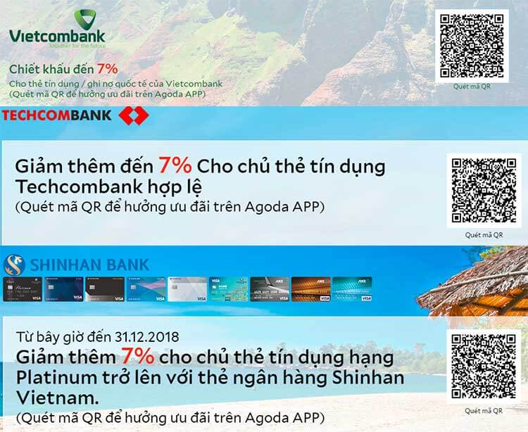 Các mã QR Code ưu đãi đặt phòng trên ứng dụng Agoda cho chủ thẻ ngân hàng