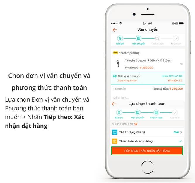 Các bước mua hàng trên ứng dụng Shopee App cũng giống trên Shopee.vn