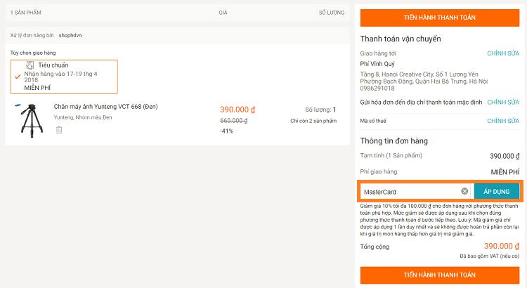Nhập mã giảm giá Lazada khi mua hàng