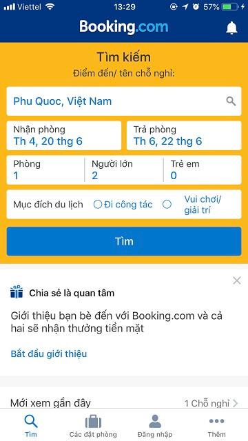 Ứng dụng đặt phòng khách sạn Booking.com